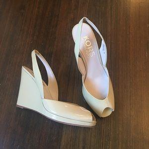 Michael Kors Vivian patent wedge sandals size 8